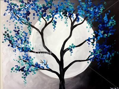 Coffee & Canvas - Blue-Green Moon - Tampa, FL Painting Class - Painting with a Twist