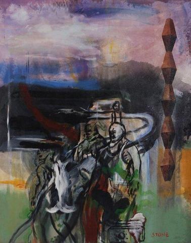Simon Stone - A Retrospective Exhibition (Artwork entitled 'The Homecoming', 1988, Acrylic on Canvas) #StandardBank #Gallery #Art