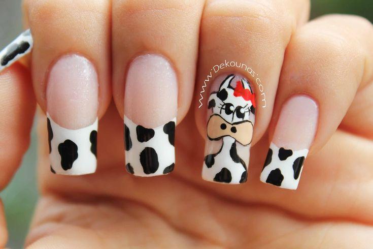 Decoración de uñas vaca - Cow nail art
