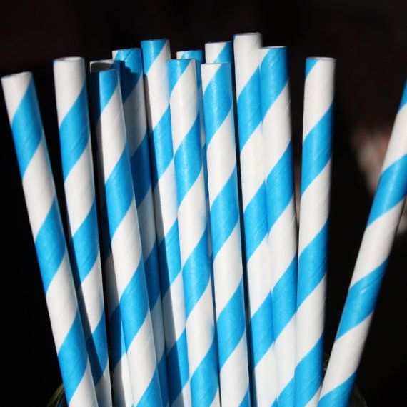 40 Blue Striped Paper Straws Party Straws Party by PhotoBoothgirls, $8.00