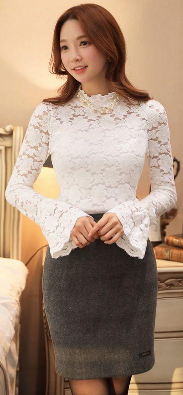 StyleOnme_Handmade H-Line Skirt #grey #wool #pencilskirt #koreanfashion #feminine #girlish #kstyle #skirt #falltrend #seoul