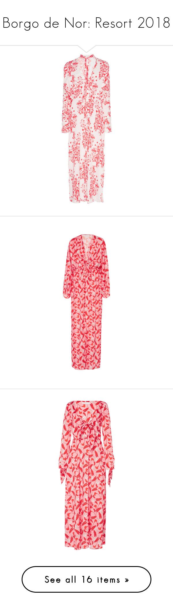 """Borgo de Nor: Resort 2018"" by livnd ❤ liked on Polyvore featuring livndfashion, resort2018, livndborgodenor, BorgodeNor, dresses, print, tie neck tie, pink dress, neck tie dress and low v neck dress"