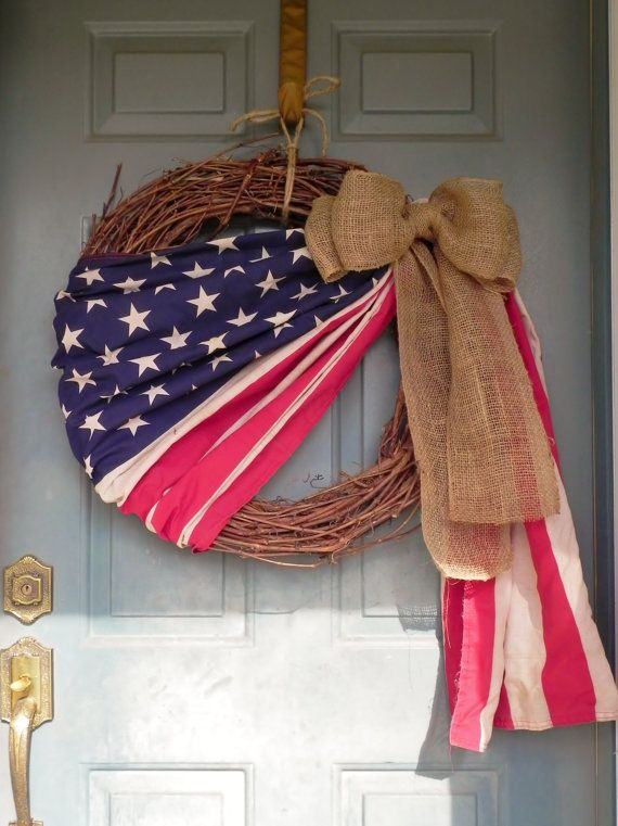 Patriotic Flag Wreath (Set of 2) - XLARGE 24 WREATH Grapevine - 4th of July wreath - Memorial Day via Etsy