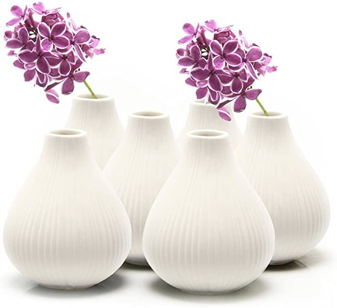 Amazon Com Chive Set Of 6 Frost 3 Wide 3 5 Tall Round Clay Pottery Flower Vase Decorative Vase For Home Decor Living Room In 2020 Vases Decor Living Decor Vase