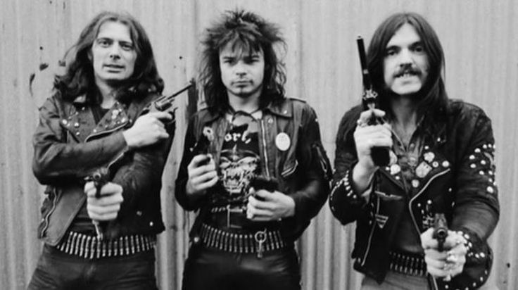 Motorhead's classic line-up (1976-82) Lemmy Kilmister, Phil 'Philthy Animal' Taylor and 'Fast' Eddie Clarke