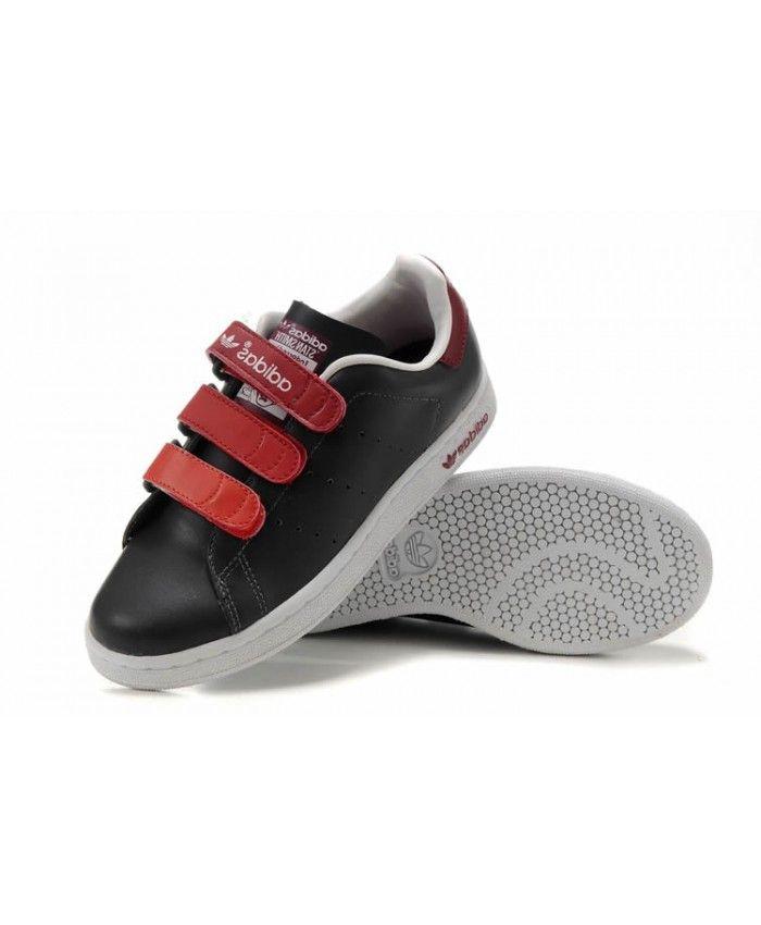 Adidas Stan Smith Womens Velcro Black Red Sale  736019125bd7