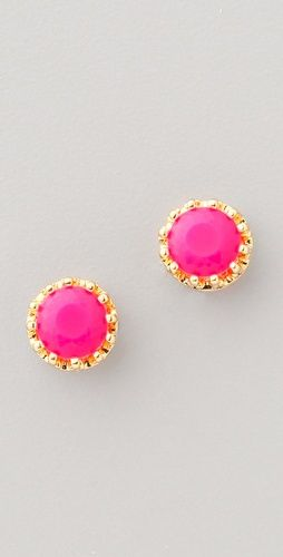Nice ones...: Fun Color, Princess Studs, Pink Studs, Pink Earrings, Juicy Couture, Summer Color, Hot Pink, Neon Pink