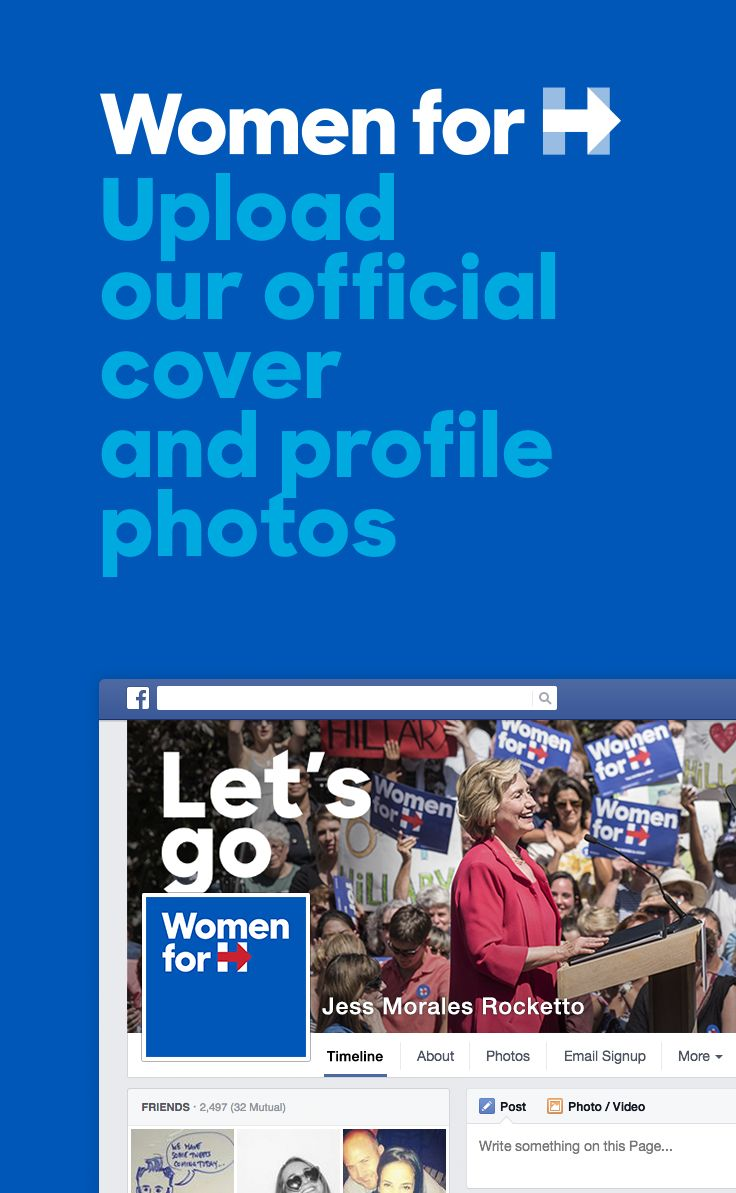 "Are you on Team Hillary? Show your support with the Women for Hillary profile and cover photo for Facebook. Click this pin and see Step No. 3 on the ""6 Easy Steps for Hosting a Successful Women for Hillary House Party"" page!"