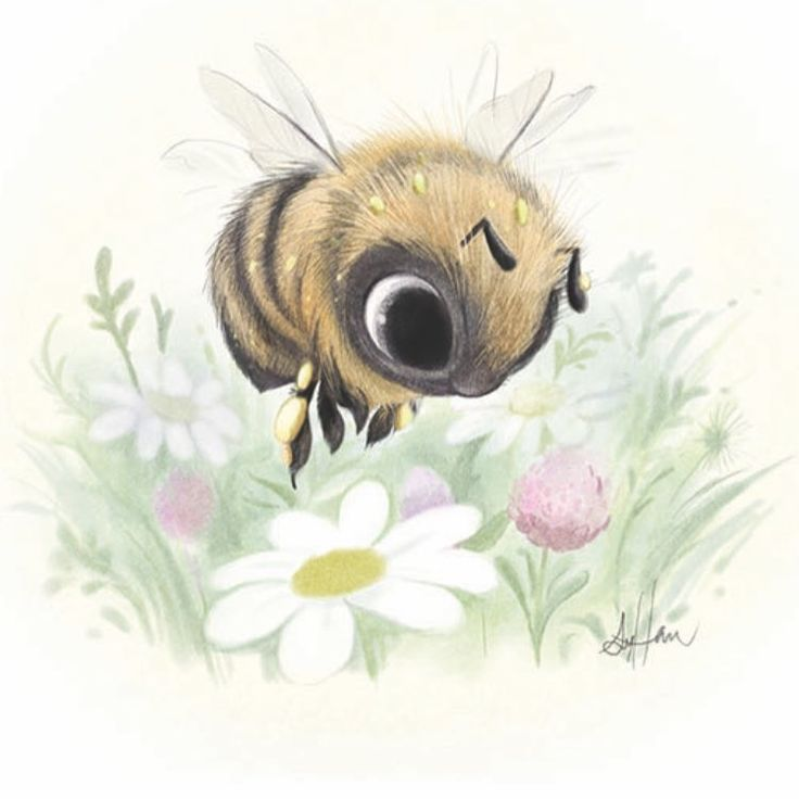 A little worker bee from a while ago! I realized I never posted her on Instagram. I've seen a lot of bumblebees and honey bees lately which is great! #bees #bumblebee #childrensillustration #painting
