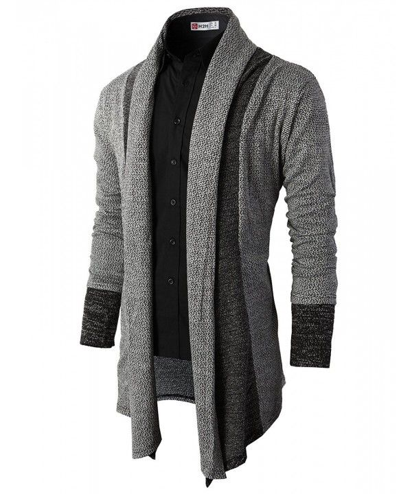 Mens Fashion Slim Fit Open Front Long Sleeve Shawl Collar