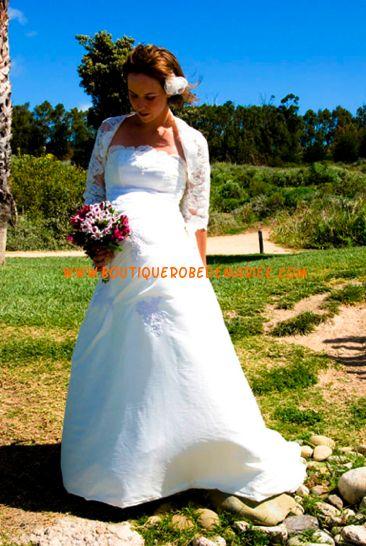 Robe de mariée pour future maman avec veste