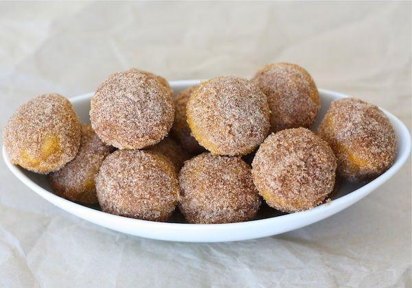 Baked Pumpkin Donut Hole Recipe on twopeasandtheirpod.com