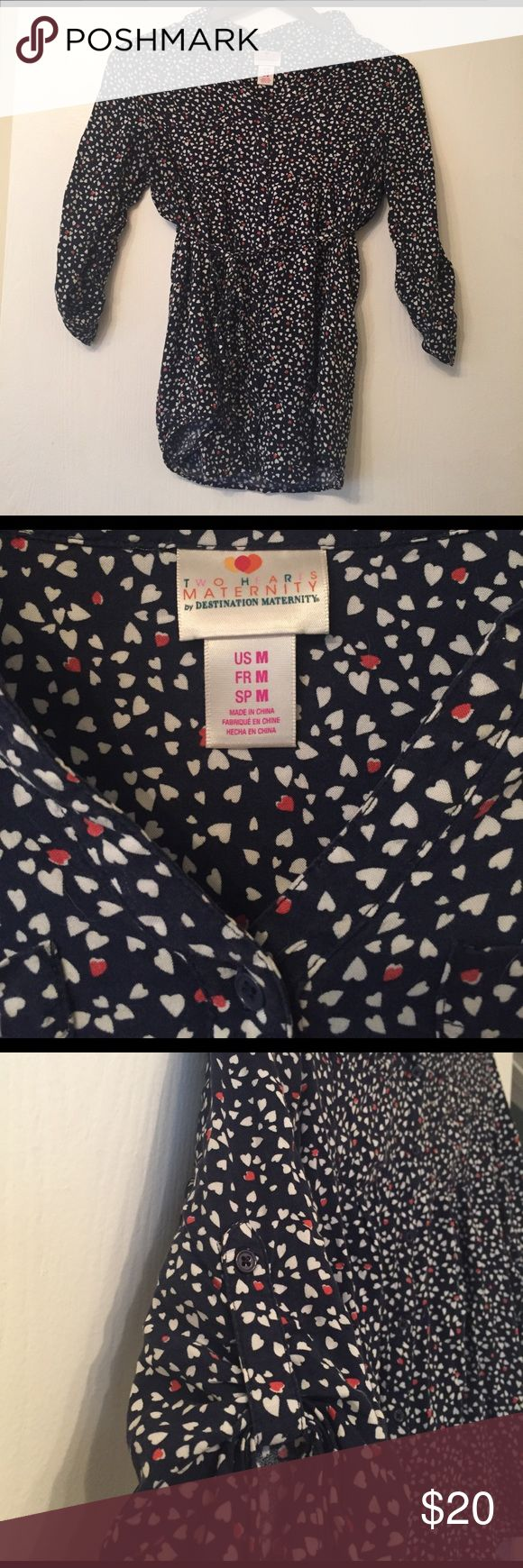 Women's Maternity Blue Button Up Shirt w Hearts Two Hearts Maternity by Destination Maternity  Size Medium  Button up shirt and medium length sleeve (with button flourish as well).  Two small breast pockets  Fitted hem line  100% Rayon Made in China Includes spare button and fabric belt (pictured) Destination Maternity Tops Button Down Shirts