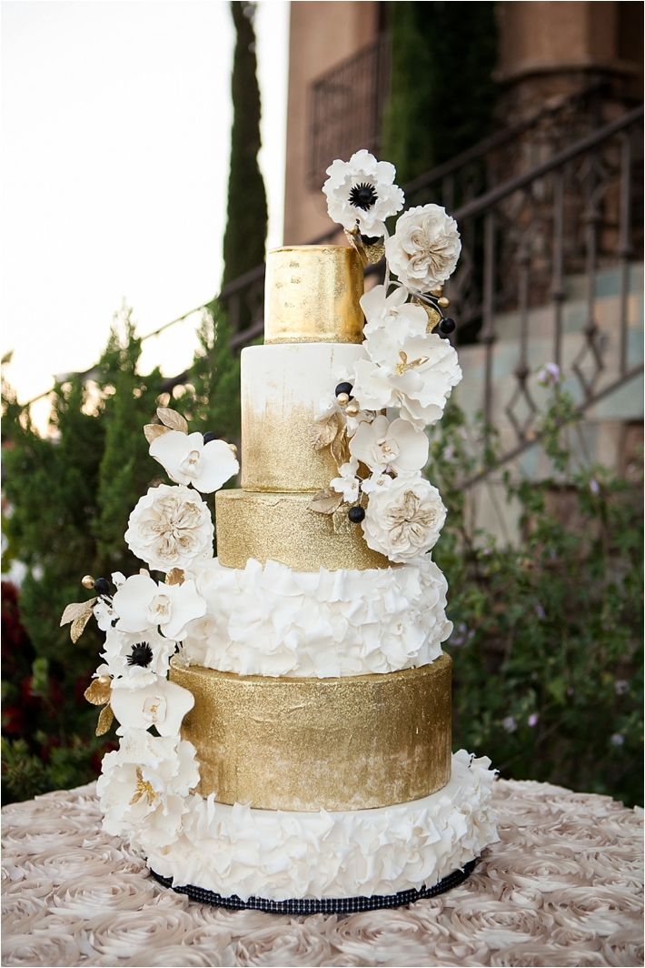 wedding cakes in lagunbeach ca%0A Southern California Bride  Luxe Wine Country Estate Wedding Inspiration  from Michelle Garibay Events  cake by RooneyGirl BakeShop  gold glitter  and gold