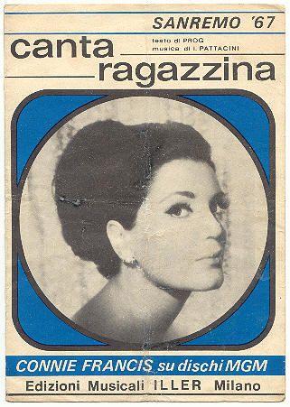 "Connie Francis ""canta ragazzina"" sheet music, spartito Sanremo 1967"