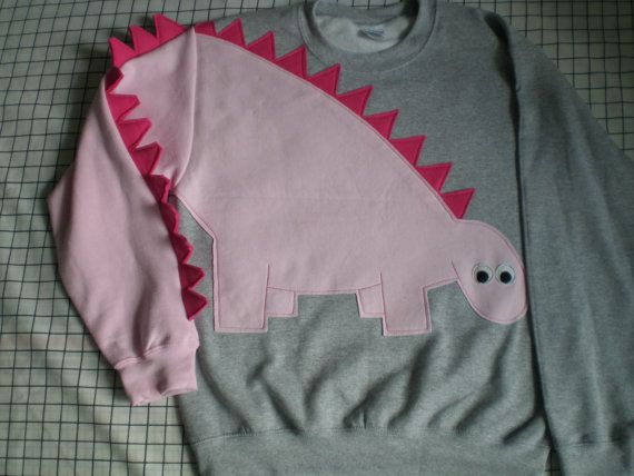 Dinosaur sweatshirt sweater shirt jumper spikey tail CUSTOM to your COLORS on Etsy, $50.00