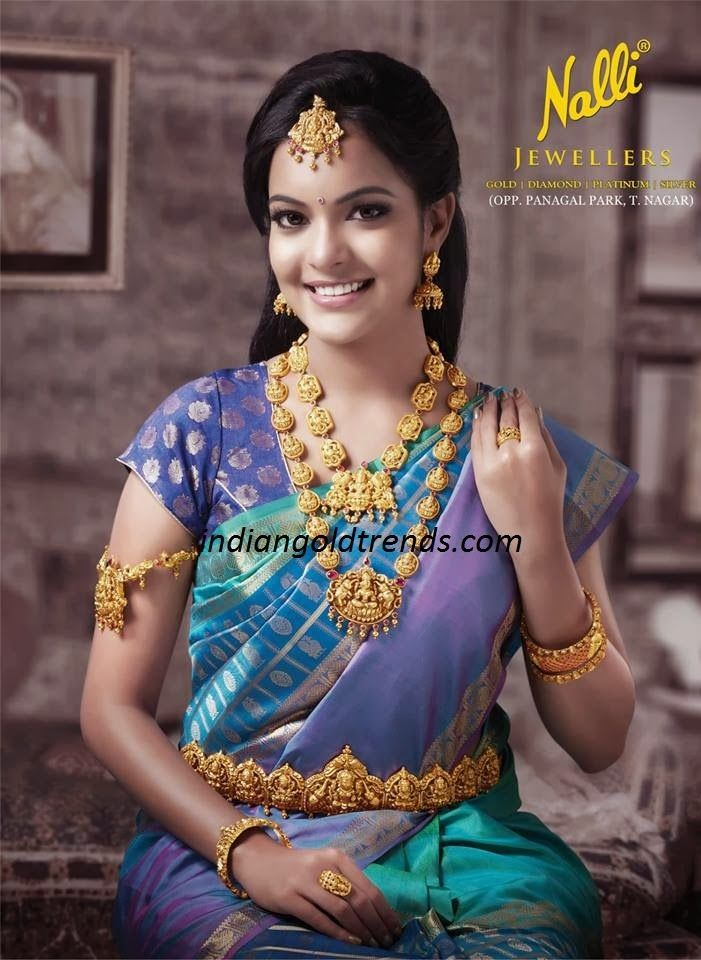 Latest Indian Gold and Diamond Jewellery Designs: Fusion work Lakshmi devi traditional bridal jewellery