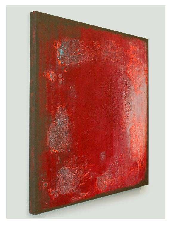 Originale peinture abstraite rouge Red Square par RonaldHunter