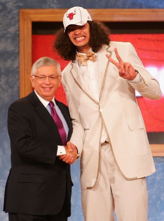Joakim Noah Chicago Bulls Draft.  I cant get over what a dork he was here!
