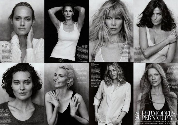 Super Natural Top Models Amber Valetta, Cindy Crawford, Claudia Schiffer, Helena Christensen, Shalom Harlow, Nadja Auermann, Tatjana Patitz, Kristen McMenamy