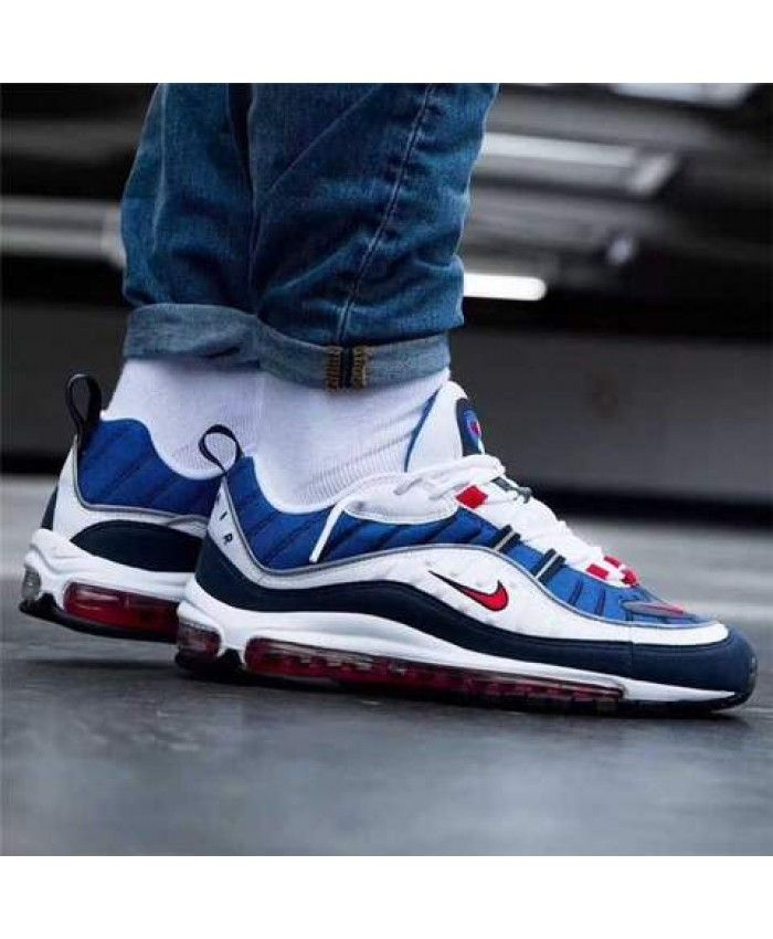online store 61149 98a53 Nike Air Max 97 Black White Blue Sneakers