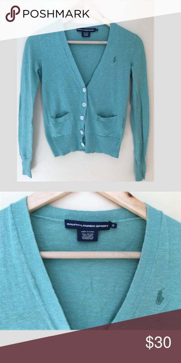 Ralph Lauren Sport Blue Teal Cardigan Ralph Lauren Sport Blue Teal Button Up Cardigan, Size XS. EUC no signs of wear! Looks great with jeans for a casual comfy weekend or pair with dress pants for work! Ralph Lauren Sweaters Cardigans