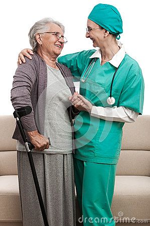 A nurse or doctor visiting an and old disabled woman. Pensioner and carer talking about recovery process. Isolated on white.