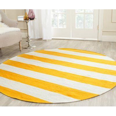 Viv + Rae Ike Hand-Woven Yellow Area Rug Rug Size: Round 6'