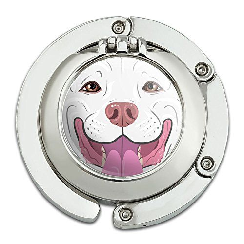 Graphicore Pit Bull Face White Pet Dog Foldable Table Bag Purse Caddy Handbag Hanger