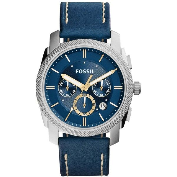Fossil Men's Chronograph Machine Blue Leather Strap Watch 45mm FS5262 ($135) ❤ liked on Polyvore featuring men's fashion, men's jewelry, men's watches, blue, mens watches jewelry, mens chronograph watches, mens blue watches and mens chronograph watch