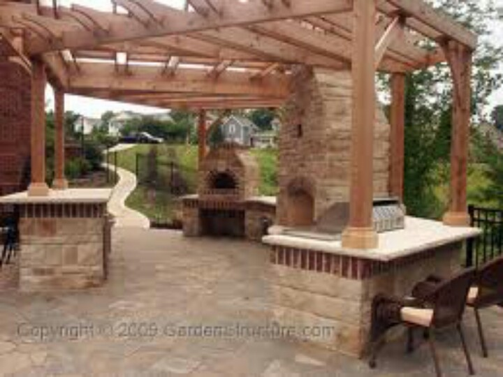 17 best images about pizza oven ideas on pinterest wood for Outdoor kitchen pergola ideas