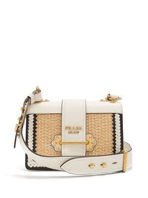 fe8822afc5eb Small raffia leather bag | Prada | MATCHESFASHION.COM US ...
