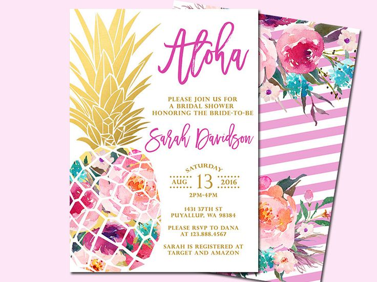 Pineapple Bridal Shower Invitation, Tropical Aloha Bridal Shower Invitation, Luau Invitation, Hawaiian Invitation, Printable file only by SunnyDaysCreation on Etsy https://www.etsy.com/listing/398876633/pineapple-bridal-shower-invitation