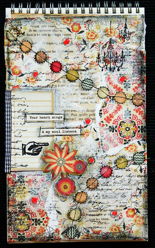 #papercrafting #artjournaling: Your heart Sings Art Journaling Entry // Lilith's scrapbooking venture  love the intricacy, the tiny layers and connections. and esp the colours