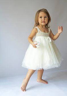 Ivory Baby Tulle Dress with Empire Waist and Stretch Crochet Top. Size 2T. Ready to ship