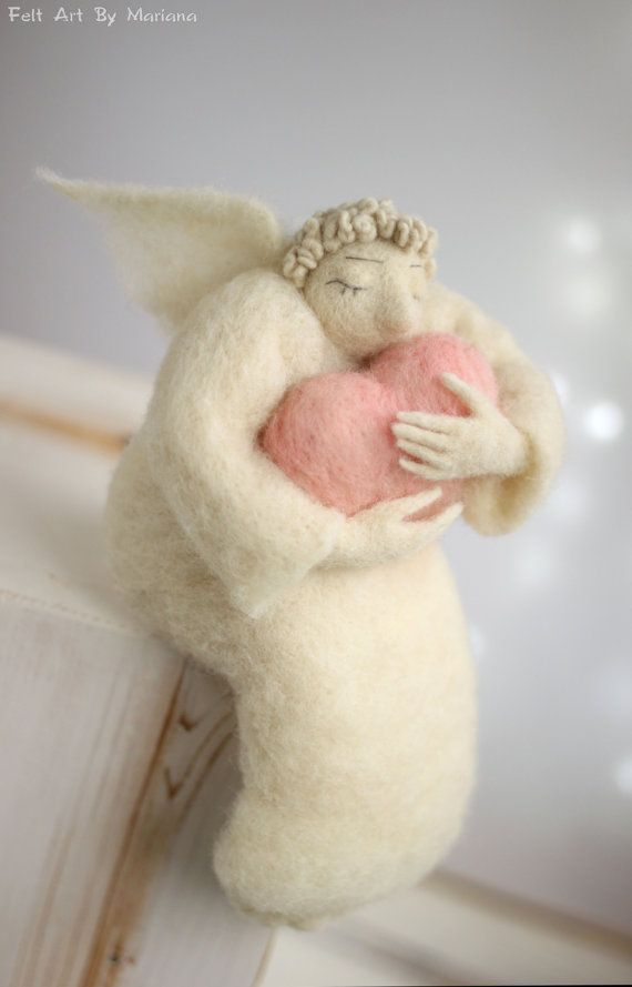 Needle Felt Angel  Dreamy  Angel With A Big by FeltArtByMariana