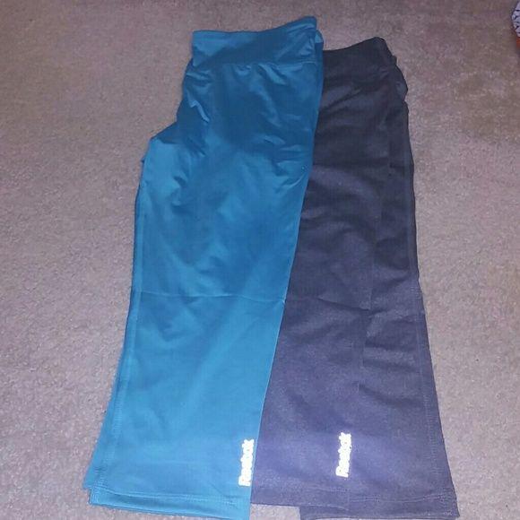 Workout capri NWOT....Reebok workout Capri in aqua and gray size L Reebok Pants Capris