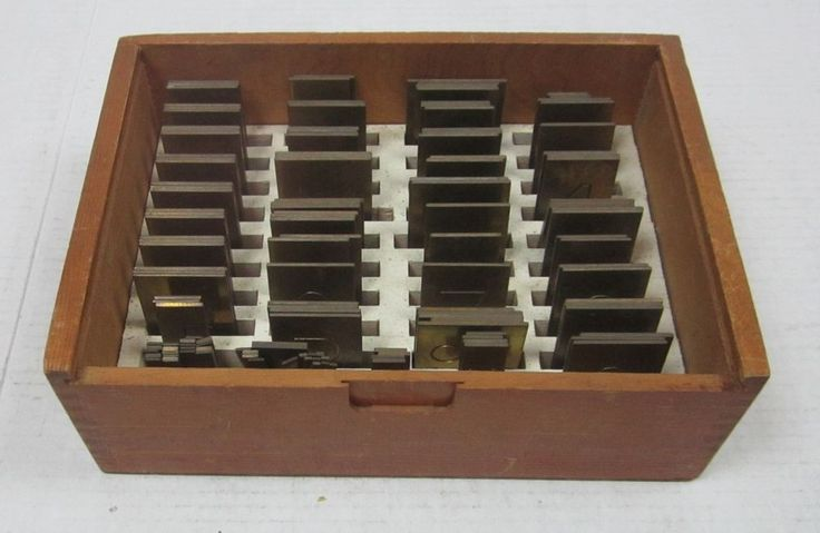 New Hermes Brass Engraving Fonts 138 Pieces in Wood Storage Box  #NewHermes
