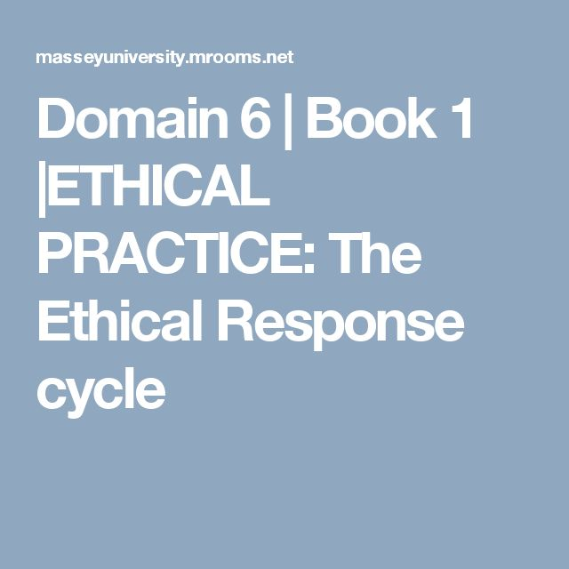 Domain 6 | Book 1 |ETHICAL PRACTICE: The Ethical Response cycle