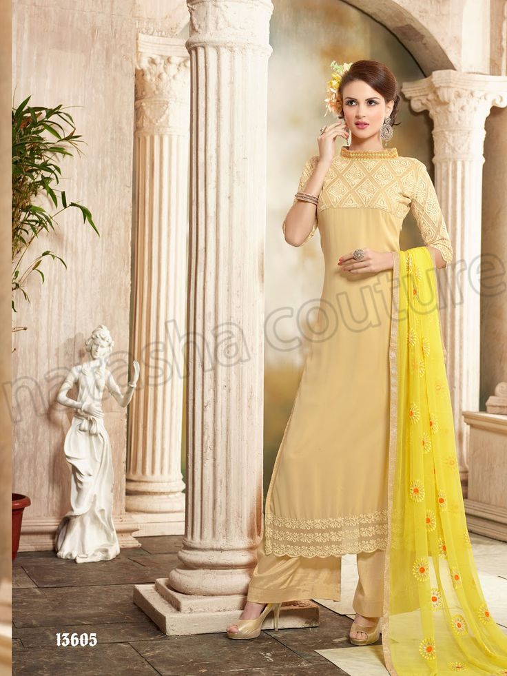 #Designer Stright Suits#Pakistani Suit#Indian Wear#Cream #Desi Fashion #Natasha Couture#Indian Ethnic Wear# Salwar Kameez#Indian Suit#Pakastani Suits# Palazoo