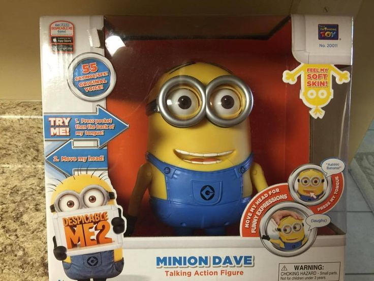 ONLY ONE LEFT!!! Despicable Me 2 Interactive Minion Dave Talking Moving Action Figure Soft Skin #Thinkway