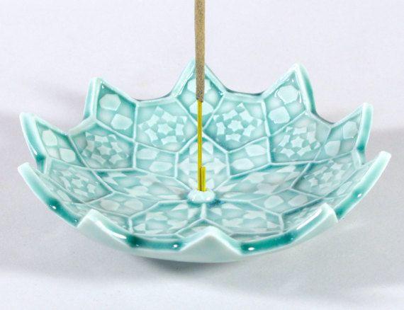 Lotus Bloom Incense Burner - Ceramic Incense Holder - Heart Chakra Meditation Aid - Japanese Incense Holder - Mandala - Sacred Geometry