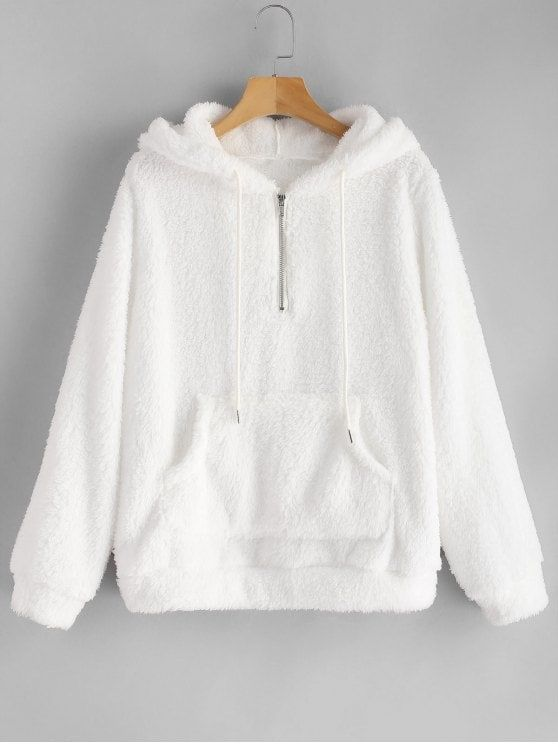 65749fe8b5e Half Zip Kangaroo Pocket Fluffy Hoodie - WHITE S