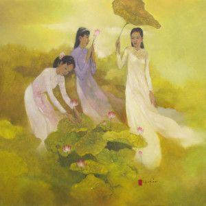 Дамы выбрать цветок лотоса-Original вьетнамское искусство