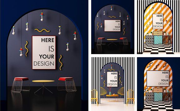 5 mock ups posters. Memphis style by FilL239 on @creativemarket