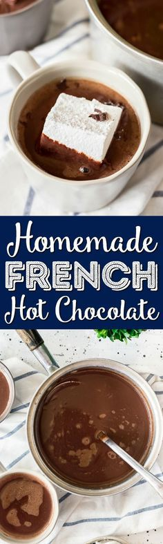 This French Hot Chocolate is rich and creamy and perfect for the holiday season! Made with just a few ingredients, everyone will love this thick and chocolaty winter drink! via @sugarandsoulco