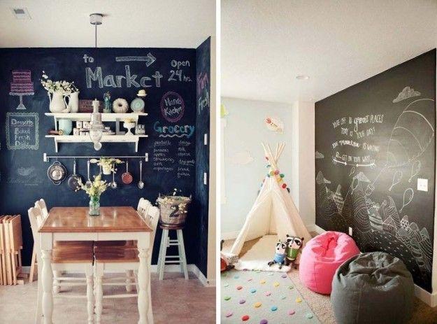 Vernice lavagna - Come utilizzare la vernice lavagna per arredare casa in modo originale.