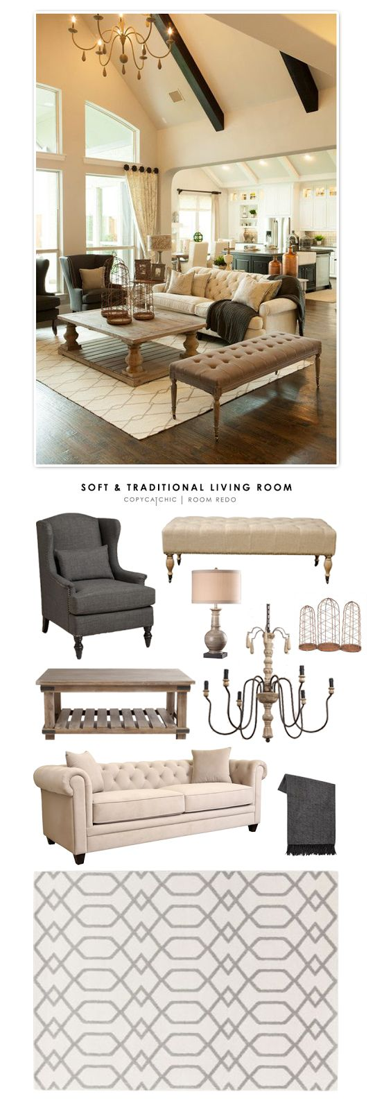 Copy Cat Chic Room Redo | Soft & Traditional Living Room | | Copy Cat Chic | chic for cheap | Bloglovin' | www.bocadolobo.com/ #livingroomideas #livingroomdecor