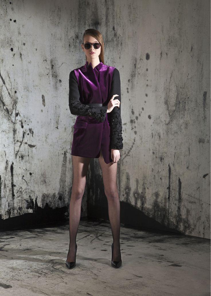 Purple velvet tailored jacket coat winter fashion fall collection designer vest
