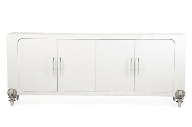 Transitional 4 Doors With Shelves Crystal Legs White Crocodile Buffet